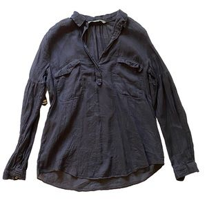 ZARA navy blue cargo shirt